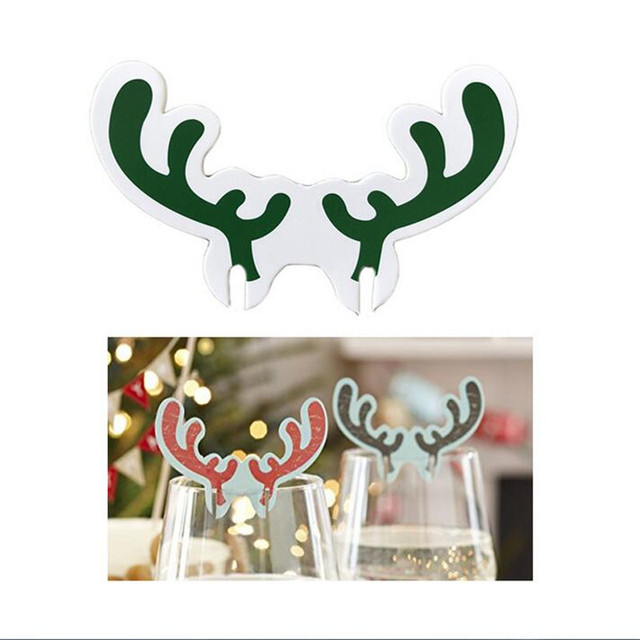 10pieceslots christmas moose antlers holiday decorations wine glasses flag cocktail party venue decoration 2019 - Christmas Moose Decorations