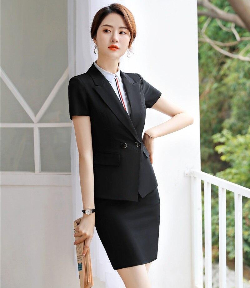 Zielstrebig Formale Frauen Rock Anzüge Damen Busiess Anzüge Arbeit Tragen Schwarz Blazer Und Jacke Sets Büro Uniform Styles