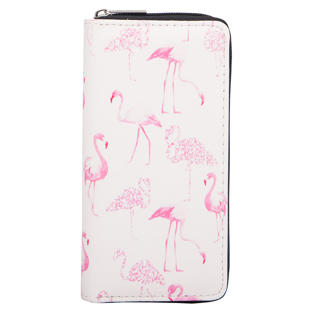 Sansarya New 2018 Fashion Pretty Dreamlike Pink Cartoon Flamingo Print Long Woman Wallet Zipper Female Purse Card Holder Wallet