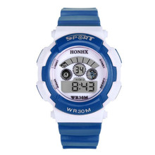 blue shope #3002 Waterproof Children Boy Digital LED Quartz Alarm Date Sports Wrist Watch