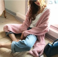 Mooirue 2018 Sweet Plush Knitted Cardigans Women Solid Soft Casual Pockets Long Sweater Coat Female Pink Blue Gray Loose Outwear