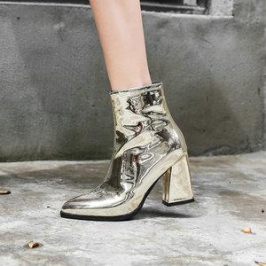 Image 2 - Sianie Tianie 2020 kış patent PU deri gümüş mor altın kadın ayakkabı patik moda blok yüksek topuklu kadın yarım çizmeler