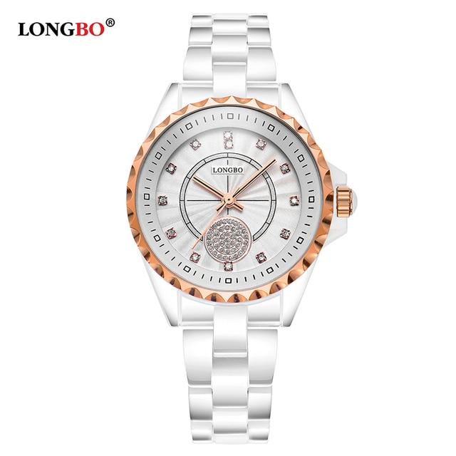 89afc402b87c Модные женские часы Longbo Роскошные повседневные кварцевые белые  керамические Relojes ...