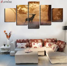 CLSTROSE 5 Stks Braak Herten Herfst Canvas Wall Art Home Decor Modulaire Foto Voor Woonkamer Print Posters Unframed(China)