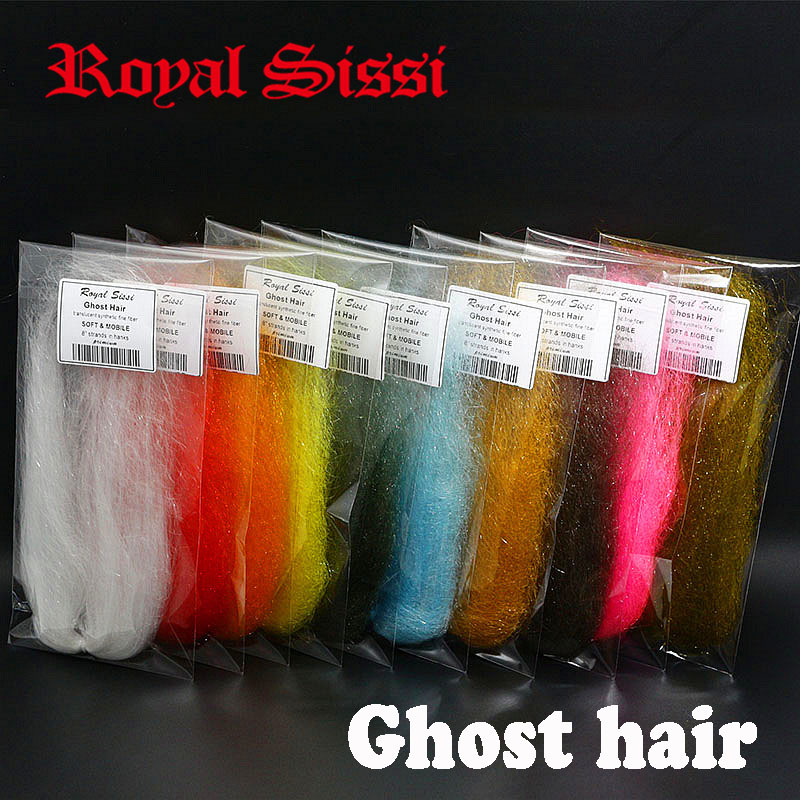 Royal Sissi 10colors fly tying ghost hair fiber translucent highly mobile sparkle synthetic hair pike streamer flytying material bimoo 6packs bright artificial fiber for fly tying streamer salmon pike fly sabiki rig making material fluo green pink yellow