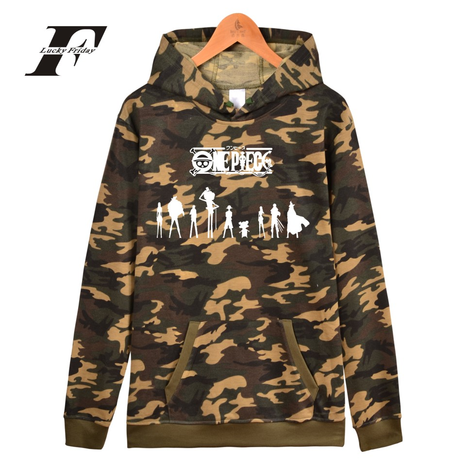 LUCKYFRIDAYF Onepiece Cap Camouflage Monkey D. Luffy Logo Men Hoodies And One Piece Sweatshirt Women Battle Fatigues Clothing