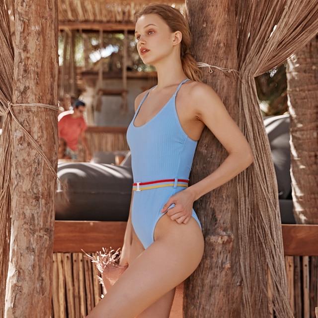 CUPSHE Blue One-piece Swimsuit Women Cut Out Soild Monokinis With Single Waistband 2020 New Girl Beach Bathing Suit Swimwear 4