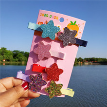 LUXSHINE Glitter 6pcs/lot Pentagram Barrettes for Girls Fashion Hair Grips Childrens Day Pins Jewelry Accessories