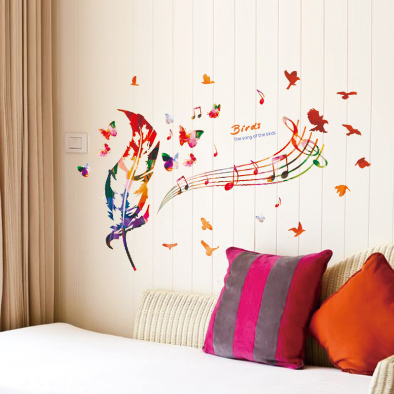 New PVC Environmental Protection Can Remove Wall Music Notes Color - Custom vinyl wall decals uk how to remove