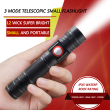 IPX5 3 Mode Zoomable 800 LM Mini Ultra Bright Portable Tactical Zoom L2 LED Torch Flashlight Lamp for USB Charging