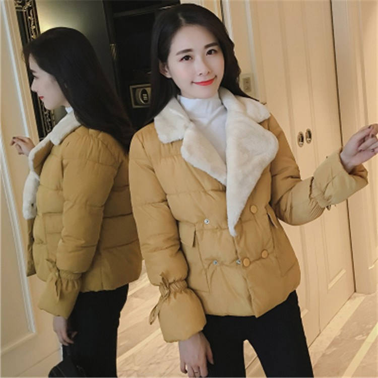 New Fashion Women Slim Fur Turndown Collar Jacket High Quality Cotton Double Breasted Parkas Female Casual Coat