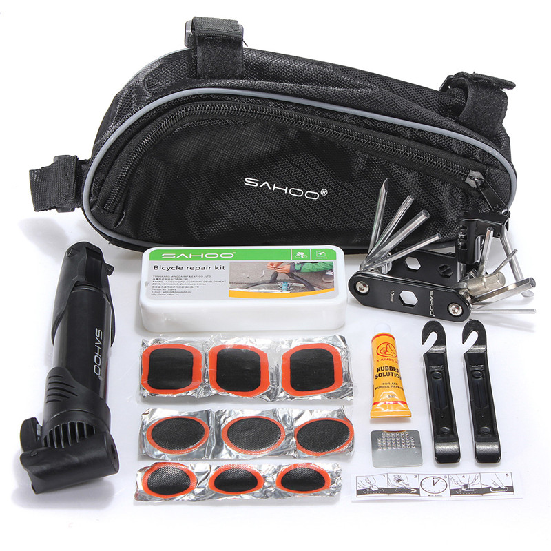 SAHOO Cycling Bike Repair Tool Bag Mini Pump Folding 15 in 1 Bicycle Tyre tire Repair With Pouch Multifunctional Tools Set KitSAHOO Cycling Bike Repair Tool Bag Mini Pump Folding 15 in 1 Bicycle Tyre tire Repair With Pouch Multifunctional Tools Set Kit