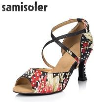 Samisoler 2018 New Latin Dance Shoes Salsa Woman Satin  Soft Bottom Fashion Rhinestone Sandals Ballroom