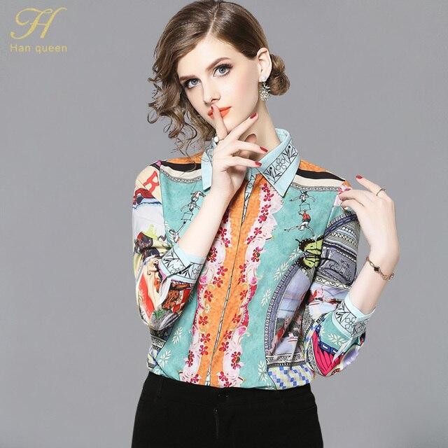f3edb6b21c344 H Han Queen mujeres Vintage estampado Floral señoras Tops chifón otoño  Casual blusa mujer ropa de trabajo camisas de oficina