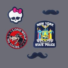 Kawaii Boog Schedel Patches 3D Diy Borduren Snor Applicaties Iron On Lone Wolf New York Badges Voor Kleding Hoeden Accessoires(China)