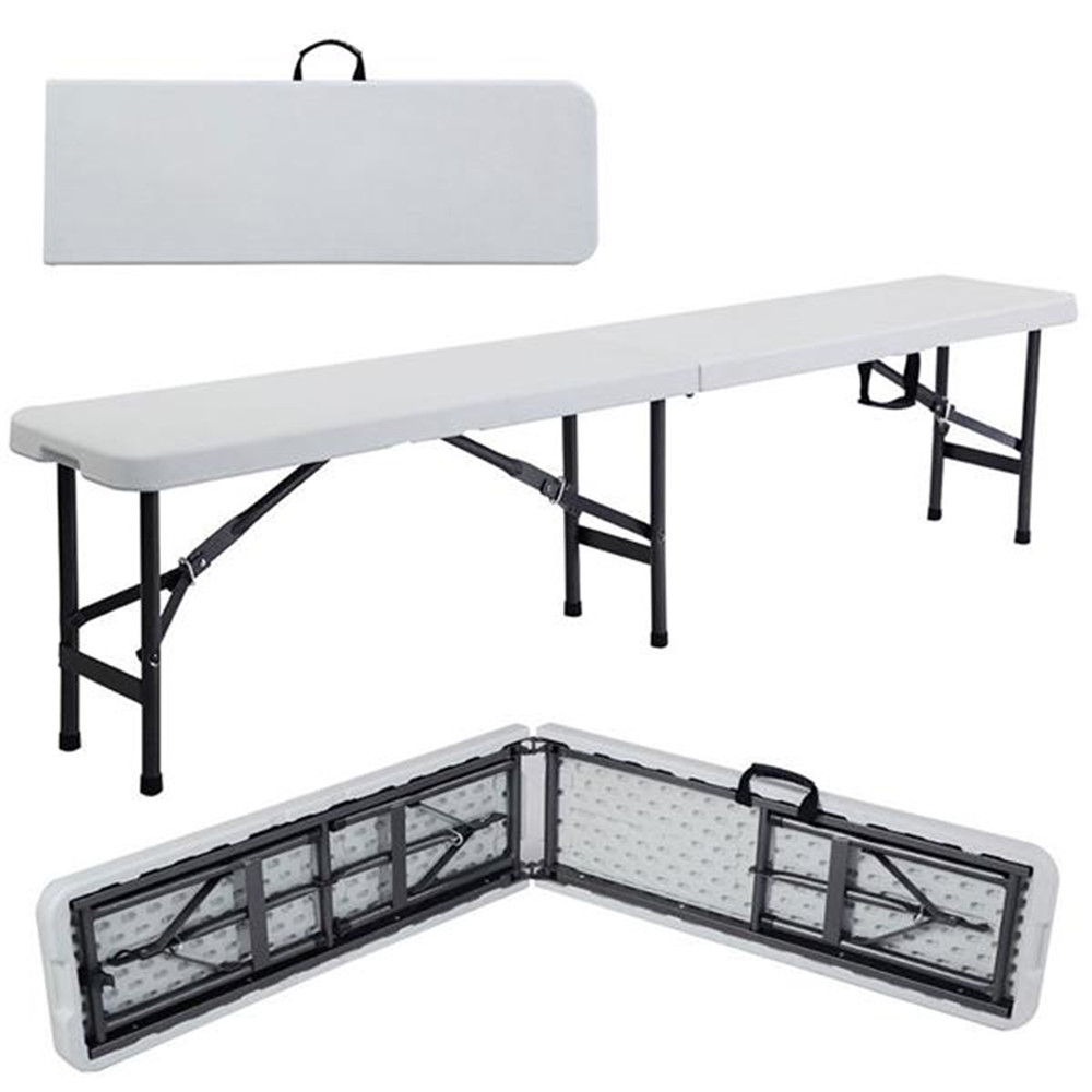 6' Portable Plastic In/Outdoor Picnic Party Camping Dining Folding Bench Off-white Folding Table And Benches