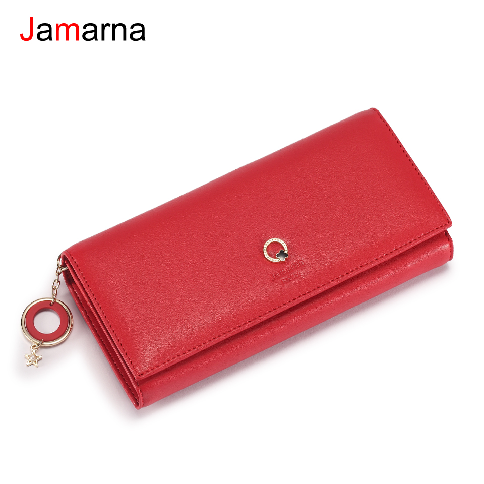 Jamarna Wallet Female PU Leather Magnetic Closure Women Wallets Clip Coin Pocket Stylish Pendant Wallet Female New Arrival stylish women s tote bag with clip closure and crocodile print design