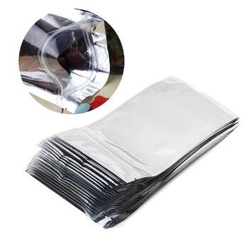 50 PCS Translucent plating aluminium ziplock bag – Reclosable Silver Metallic mylar foil pouch zipper clip clear Front Kitchen Fixtures