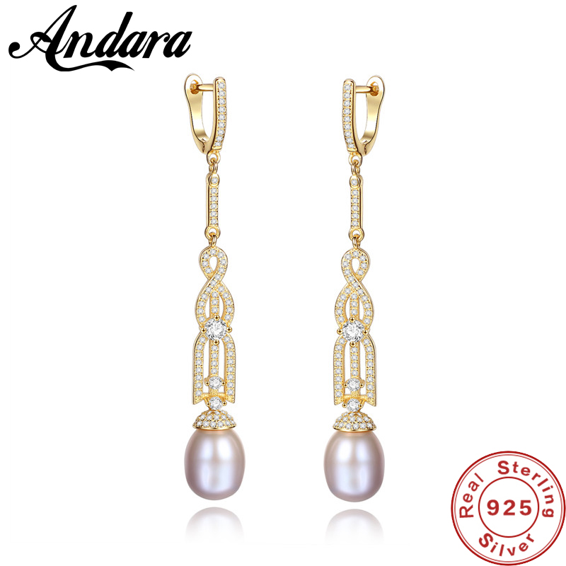 New Pearl Earrings Genuine Natural Freshwater Pearl 925 Sterling Silver Long Earrings Jewelry for Women Wedding Gift