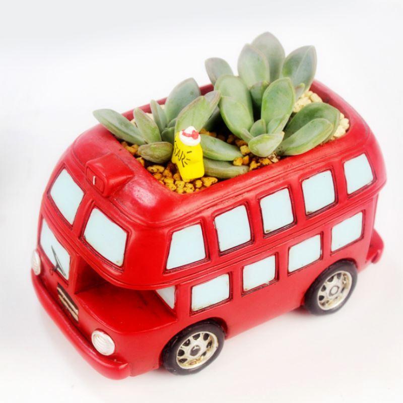 Retro Mini Car Bus Flower Micro Landscape Decorative Pot Succulent Planters Pot For Home Garden Decor P20