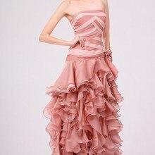 Стиль удивительные без бретелек прямое, с вырезом Плиссированное вечернее платье
