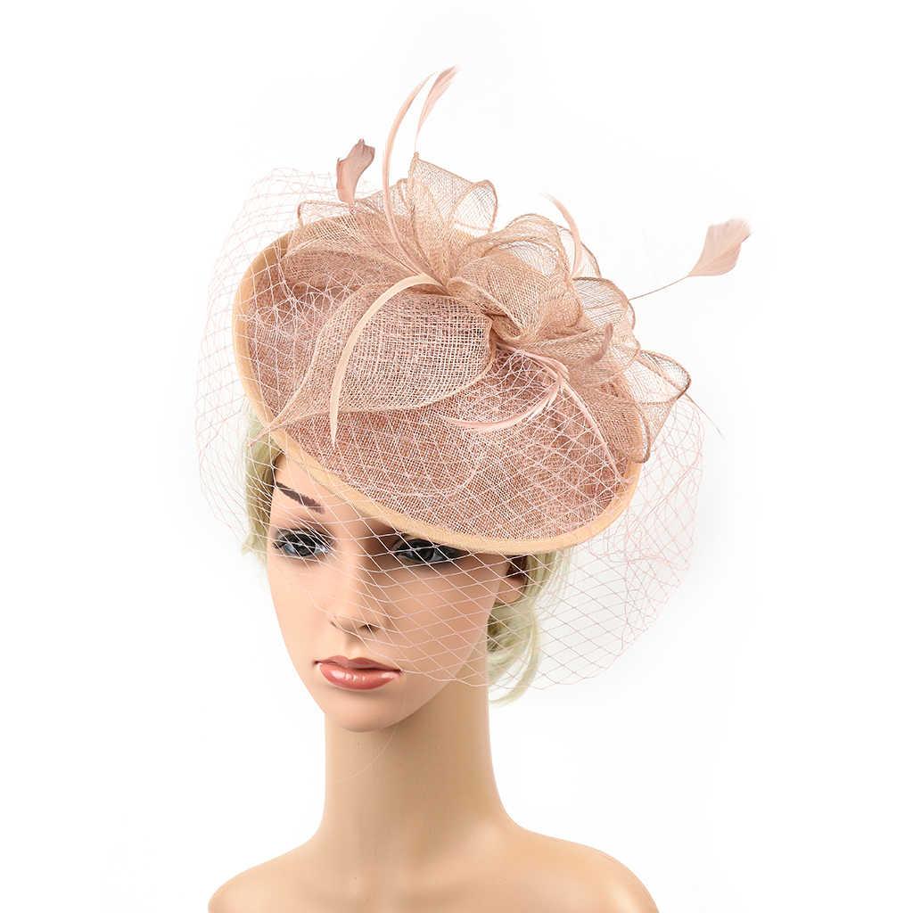 Elegant Women Ladies Sinamay Hat Feather Headband Clip Fascinator Veil Wedding Party Royal Ascot Hair Accessories Headwear