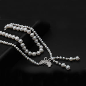 Image 5 - Real natural freshwater double pearl necklace for women,wedding choker necklace anniversary gift