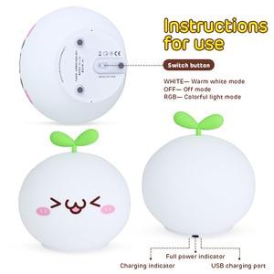 Image 5 - Night Light Lamp USB LED Soft Silicon Touch Sensor Cartoon 5V 1200 mAh 8 Hours Working Kids Cute Night Light BP D PPD U