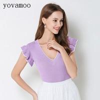 Yovamoo Knitwear 2018 Summer New Fashion Streetwear Women Ruffle Sleeve V neck Kawaii Knitted T shirt Purple Black Yellow
