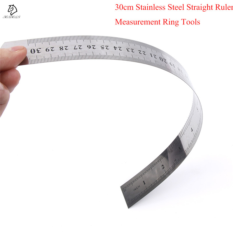 Drop Shipping 30 cm Stainless Steel Measuring Straight Ruler Metric Silver Double Side Tool For Office School Supplies double side scale stainless steel straight ruler measuring tool 50cm