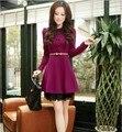 2017 venda direta de algodão vestidos de festa vestidos femininos frete grátis outono novo estilo coreano magro mulheres lace dress 7231
