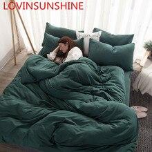 Simple สีทึบชุดผู้ใหญ่ผ้าคลุมเตียงเตียง Queen King Size ชุดเครื่องนอนเกม Cama