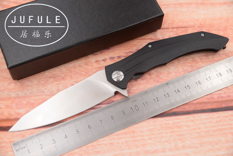 JUFULE ASYMMETRIC D2 blade G10 steel handle ball bearing Folding utility EDC outdoor camping tool pocket survival kitchen knife