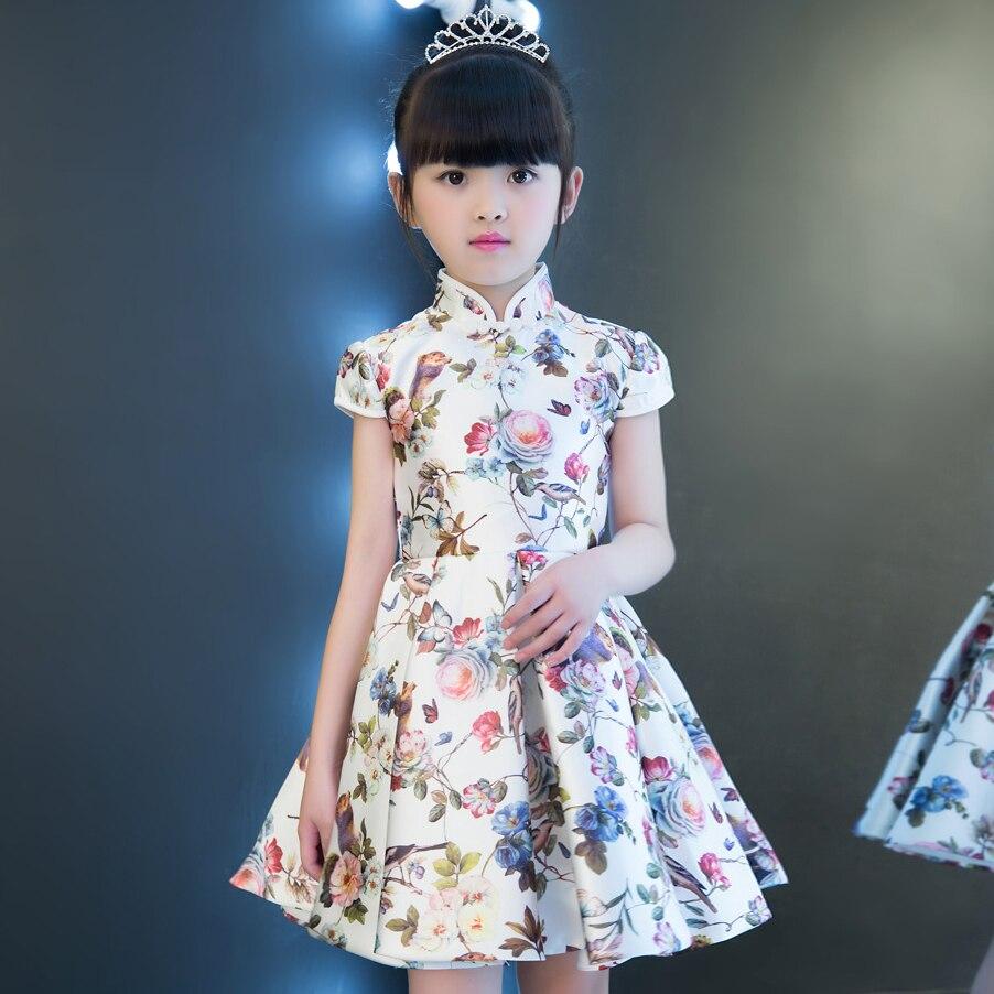 Chinese Style Traditional Reactive Printing Cheongsam Costume Dress For Girls Children Wedding Birthday Party Performance Dress