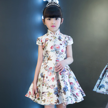 Chinese Style Traditional Reactive Printing Cheongsam Costume Dress For Girls Children Wedding Birthday Party Performance Dress