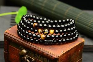 Image 5 - Czarny 108 różaniec tygrysie oko kamień bransoletka naszyjnik kryształ Strand Mala różaniec buddyjski budda kochanek szczęście biżuteria amulet