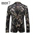 OSCN7 Terciopelo Impreso Blazer Masculino Slim Fit Ocio Traje Homme Plus Tamaño de la Etapa Del Partido Casual Hombres Floral Blazer M-3XL