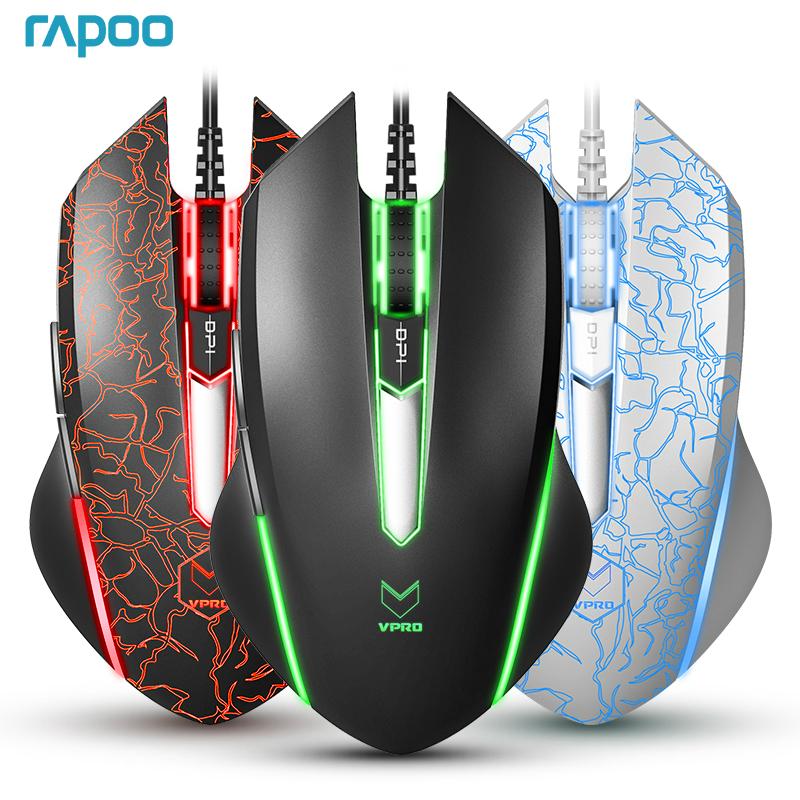 New Rapoo V18 Gaming Mouse 6 Buttons Wired USB Optical Mice Adjustable 2000DPI Professional Game for Laptops Desktop rongqingxiang 800 2000dpi usb 2 0 wired optical led gaming mouse black gold