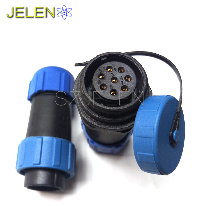 SP21, 8 pin waterproof connector plug and socket, LED connectors, industrial automation power cable connector ip68 sy1710 8 pin waterproof connector ip68 automotive waterproof connector 8 pin plug socket led power cable wire connectors