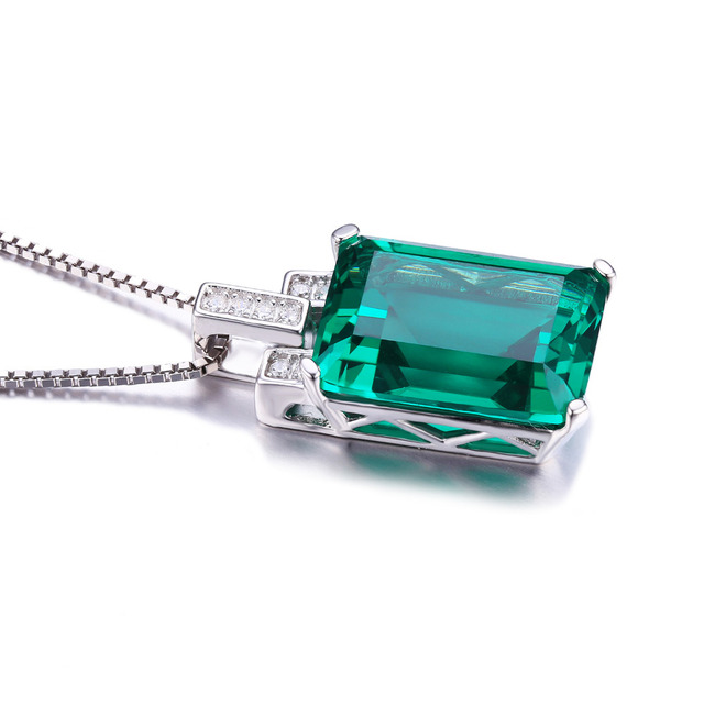 JewelryPalace Luxury 6ct Green Nano Russian Created Emerald Pendant Genuine 925 Sterling Silver Jewelry For Women Birthday Gift