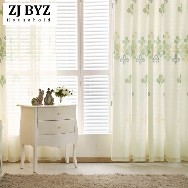 American Simple Floating Curtain Curtains For Dinning Room Bedroom Green  Vibrant Living Fabric
