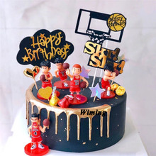 basketball players cake topper birthday party favors toys for boys baby kids children gift cupcake toppers