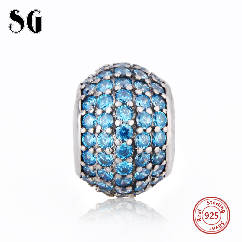 Fit Authentic pandora bracelet charms Silver 925 Blue CZ Charms silver Bead Pendant Antique accessories Jewelry making Gifts