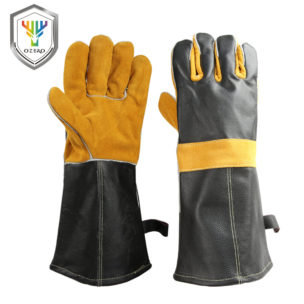 OZERO Barbecue Gloves Work Welding Welder's Cowskin  Leathe Gloves Safety Antistatic Long Sleeve Garden Gloves For Men 1101 ozero work gloves working hand type protective welding garden antistatic fishing safety goat leather work gloves for men 0009