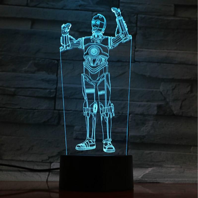 Children Room Bedside Night Lamp Star Wars Robot C-3PO Night Light Led Action Figure Bedroom Decorative 3d Lamp Birthday Gift