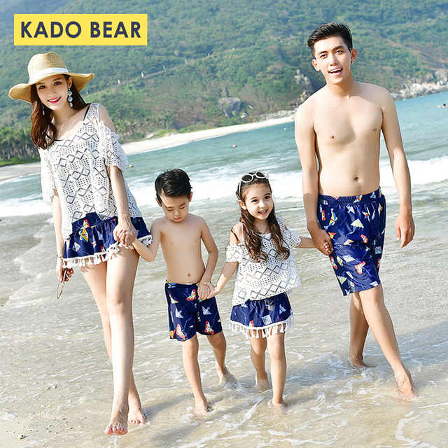 05ca43437a89b Family Matching Outfits Mommy and Me Swimsuit Daddy Girl Swimwear Mother  Son Outfits Father Boys Short Pants Mom Daughter Skirts