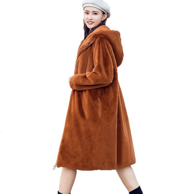 Colour Femmes Cheveux apricot Chaud Caramel Épaississement Femelle De black Hiver Lapin Long Lâche Capuchon Manteau Veste À 2018 Automne Faux Fourrure coréen Nouvelle YRB66n