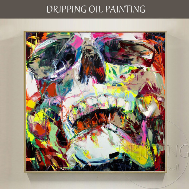 US $38 43 39% OFF|Top Artist Hand painted High Quality Abstract Colorful  Skull Oil Painting on Canvas Modern Abstract Portrait Skull Oil Painting-in