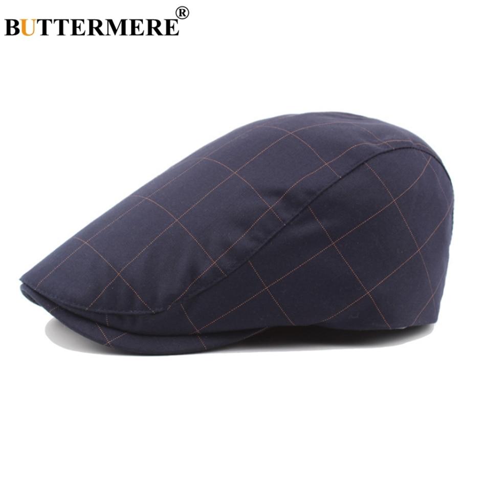 BUTTERMERE Flat-Caps Beret-Hat Male Navy Plaid Duckbill Cabbie Adjustable Retro Autumn