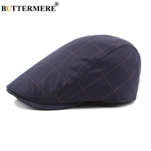 BUTTERMERE Flat Caps For Men Navy Plaid Beret Hat Male Cotton Checkered Adjustable Cabbie Retro Vintage Autumn Duckbill Hat Navy stylish adjustable buckle dark color retro style men s cabbie hat